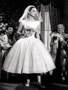 Audrey Hepburn in short wedding gown