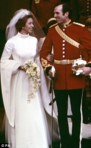 Princess Anne of England on her wedding day