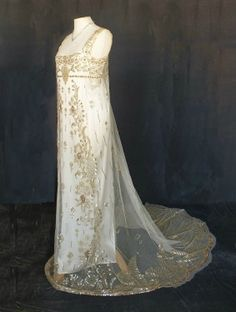 Gold Embroidered 1920s Wedding Gown Dress Circa 1900s