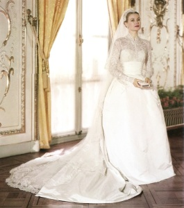 Grace Kelly on her wedding day with a high-necked wedding gown