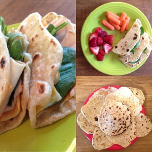 4-ingredient flour tortillas with turkey, cheese and spinach